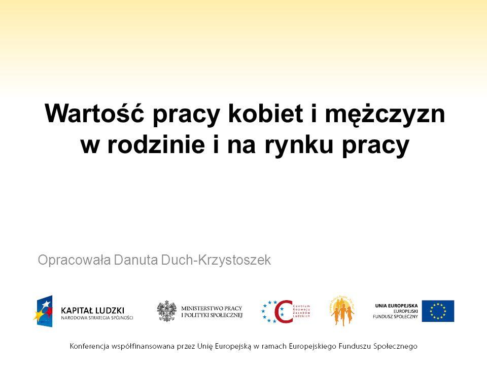 Wartość pracy kobiet i mężczyzn w rodzinie i na rynku pracy Opracowała Danuta Duch-Krzystoszek