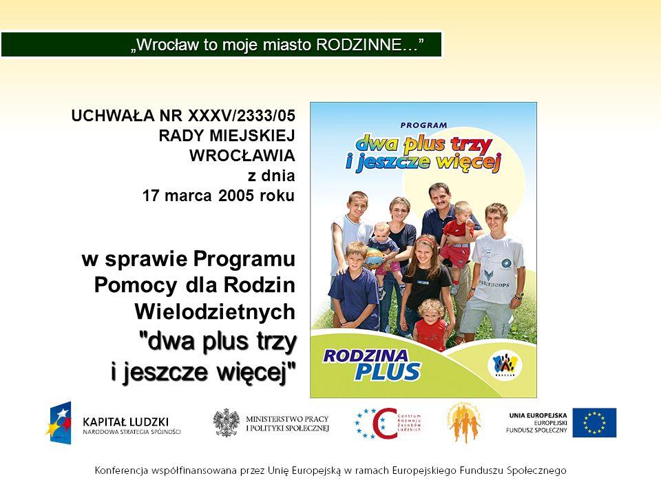 UCHWAŁA NR XXXV/2333/05 RADY MIEJSKIEJ WROCŁAWIA z dnia 17 marca 2005 roku w sprawie Programu Pomocy dla Rodzin Wielodzietnych