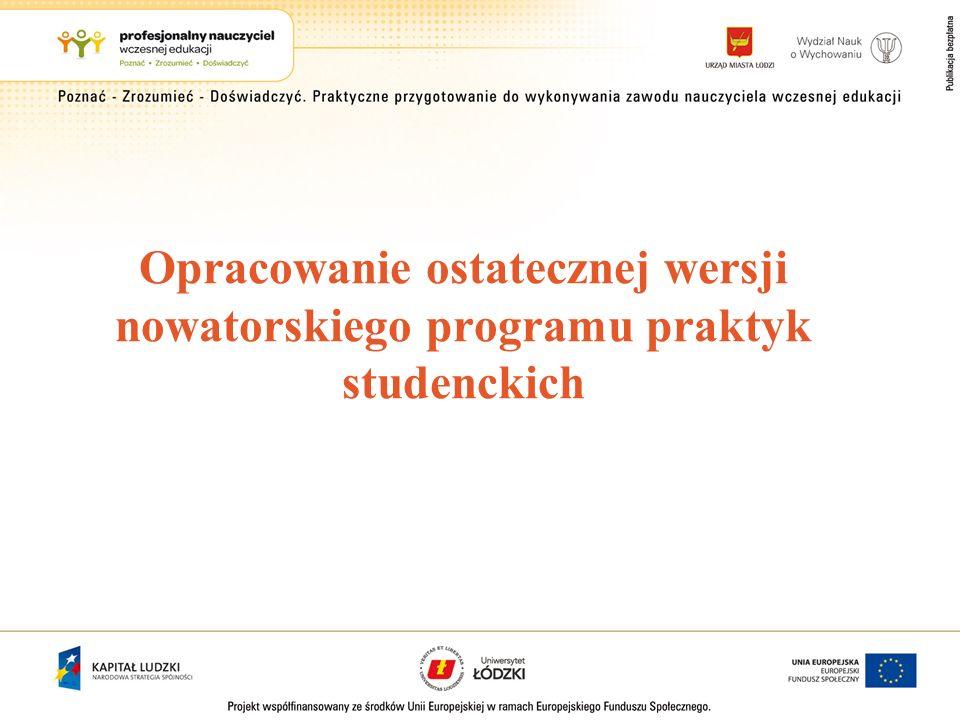 Opracowanie ostatecznej wersji nowatorskiego programu praktyk studenckich