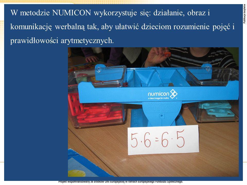 W metodzie NUMICON wykorzystuje się: działanie, obraz i komunikację werbalną tak, aby ułatwić dzieciom rozumienie pojęć i prawidłowości arytmetycznych