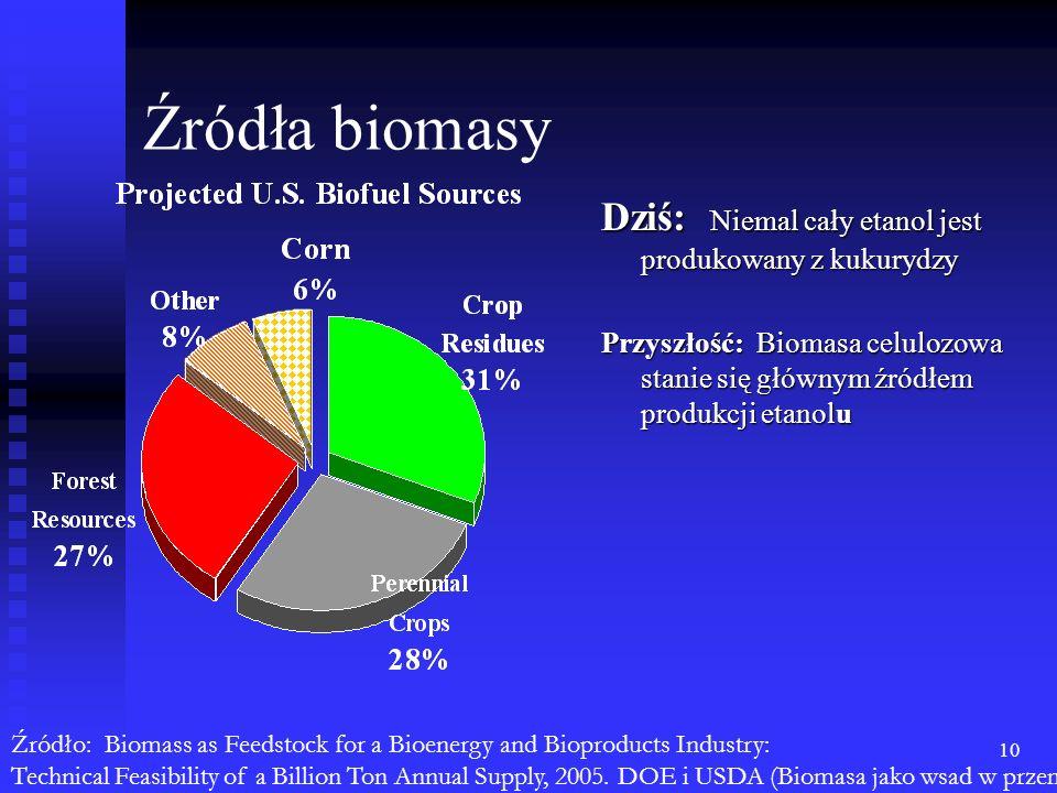 10 Źródła biomasy Dziś: Niemal cały etanol jest produkowany z kukurydzy Przyszłość: Biomasa celulozowa stanie się głównym źródłem produkcji etanolu Źr