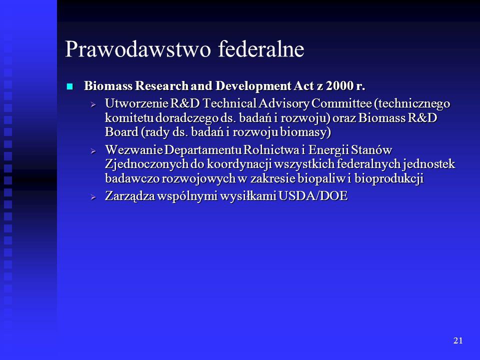21 Prawodawstwo federalne Biomass Research and Development Act z 2000 r. Biomass Research and Development Act z 2000 r. Utworzenie R&D Technical Advis