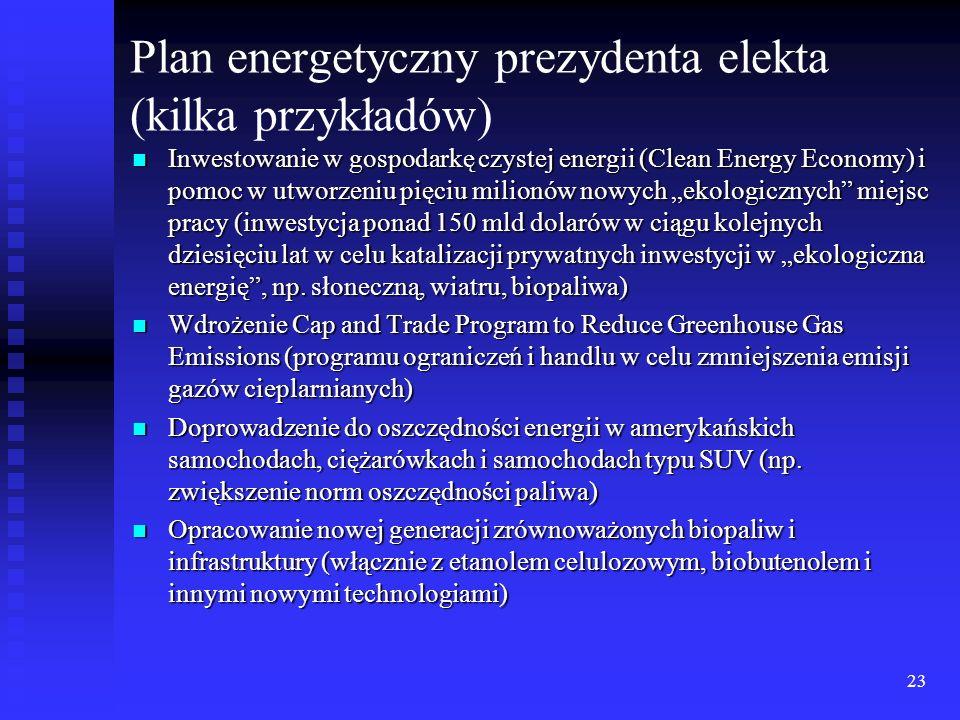 23 Plan energetyczny prezydenta elekta (kilka przykładów) Inwestowanie w gospodarkę czystej energii (Clean Energy Economy) i pomoc w utworzeniu pięciu