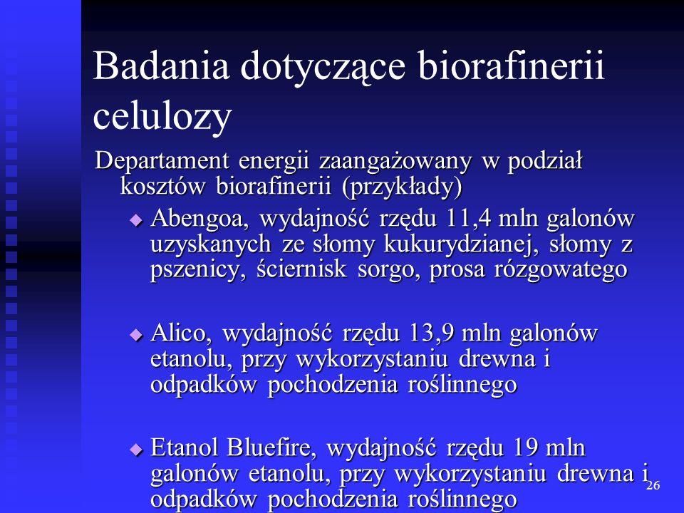 26 Badania dotyczące biorafinerii celulozy Departament energii zaangażowany w podział kosztów biorafinerii (przykłady) Abengoa, wydajność rzędu 11,4 m