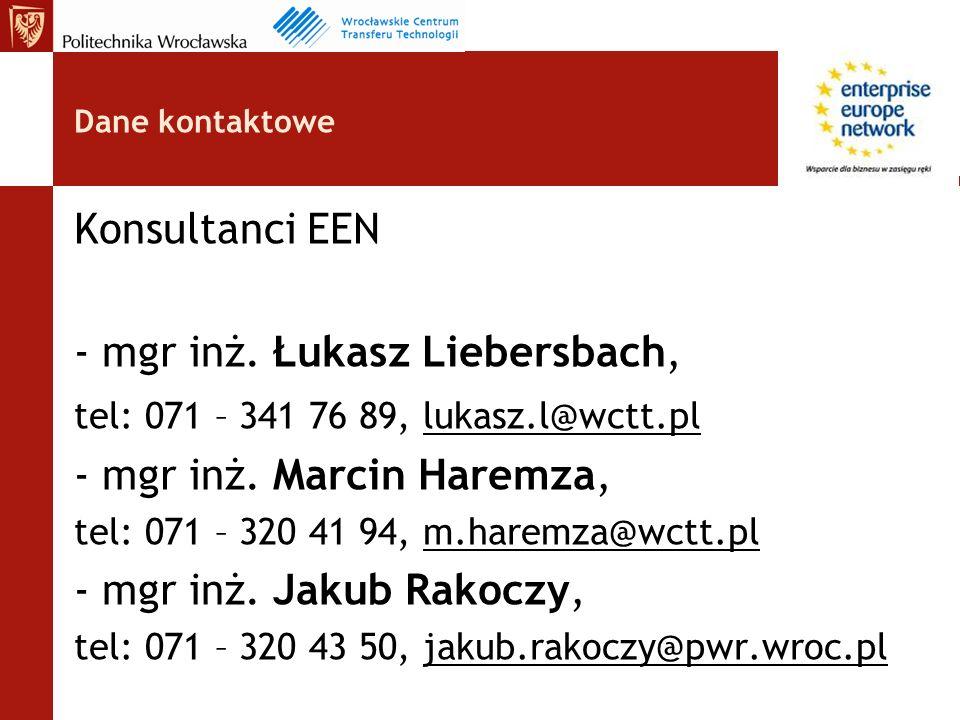 Dane kontaktowe Konsultanci EEN - mgr inż.