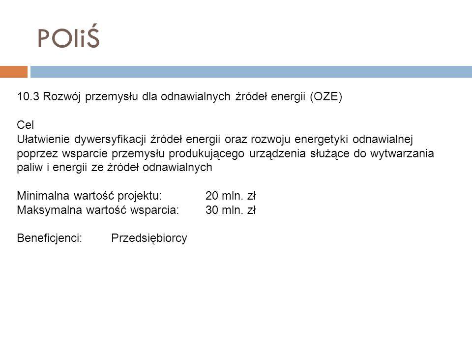POIiŚ 10.3 Rozwój przemysłu dla odnawialnych źródeł energii (OZE) Cel Ułatwienie dywersyfikacji źródeł energii oraz rozwoju energetyki odnawialnej pop