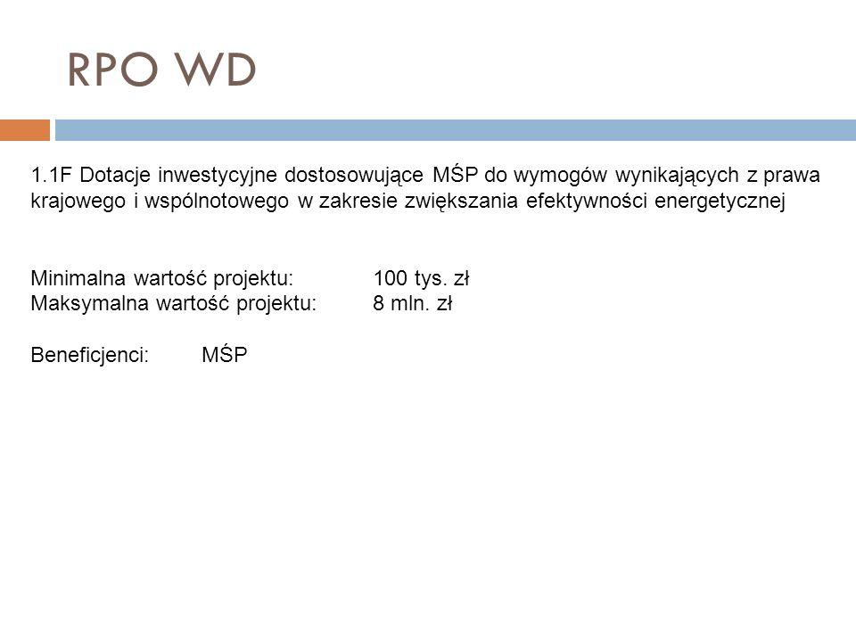 RPO WD 1.1F Dotacje inwestycyjne dostosowujące MŚP do wymogów wynikających z prawa krajowego i wspólnotowego w zakresie zwiększania efektywności energ