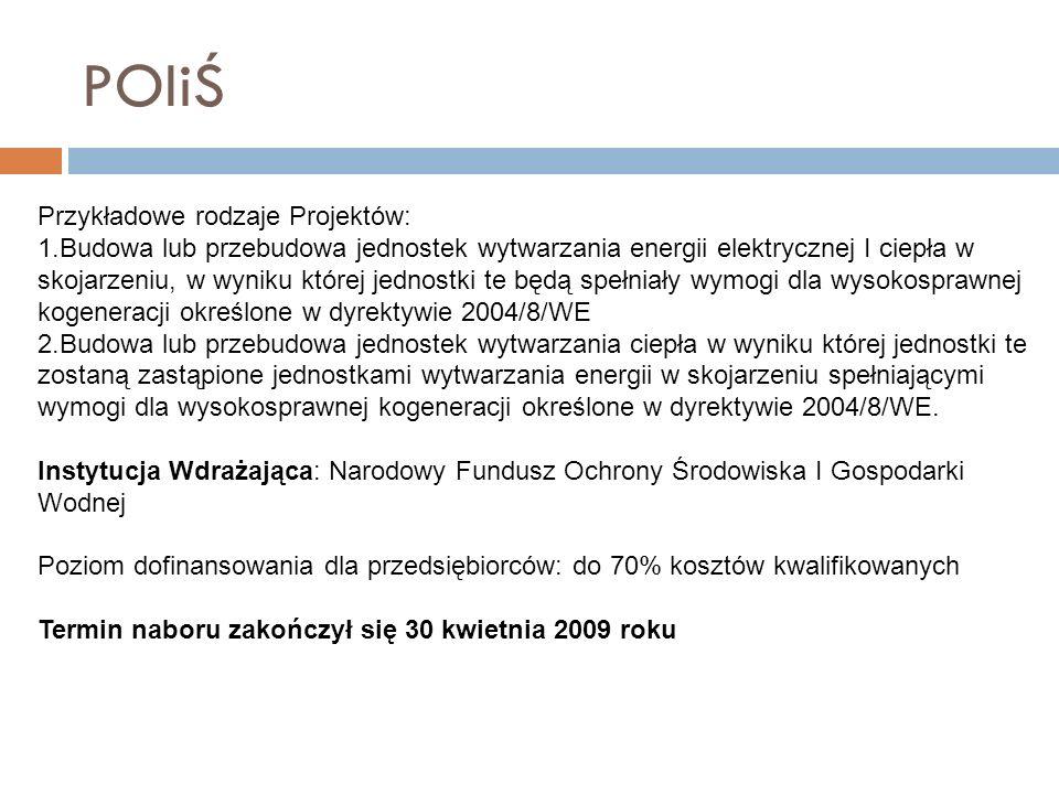 RPO WD 1.1F Dotacje inwestycyjne dostosowujące MŚP do wymogów wynikających z prawa krajowego i wspólnotowego w zakresie zwiększania efektywności energetycznej Minimalna wartość projektu:100 tys.