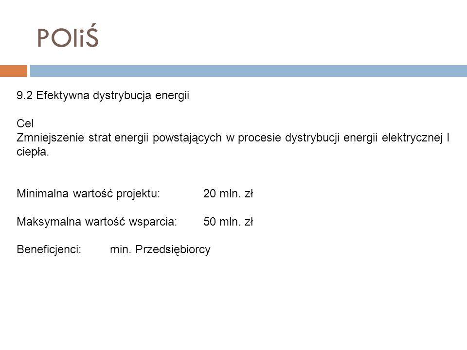 POIiŚ 9.2 Efektywna dystrybucja energii Cel Zmniejszenie strat energii powstających w procesie dystrybucji energii elektrycznej I ciepła. Minimalna wa