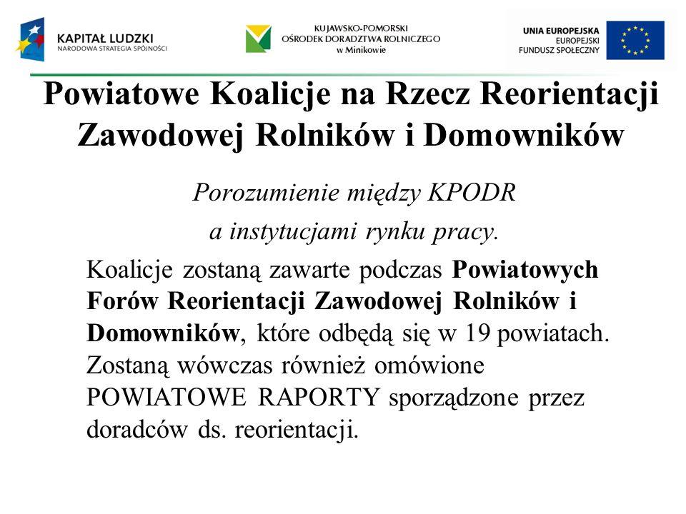 Powiatowe Koalicje na Rzecz Reorientacji Zawodowej Rolników i Domowników Porozumienie między KPODR a instytucjami rynku pracy. Koalicje zostaną zawart