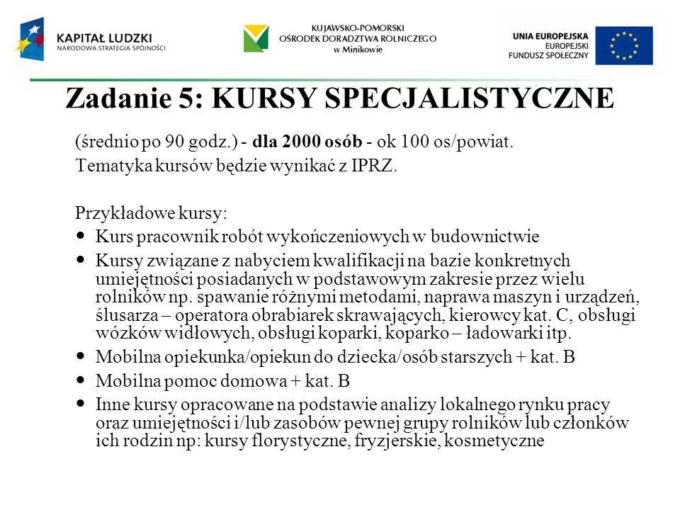 Zadanie 5: KURSY SPECJALISTYCZNE (średnio po 90 godz.) - dla 2000 osób - ok 100 os/powiat. Tematyka kursów będzie wynikać z IPRZ. Przykładowe kursy: K