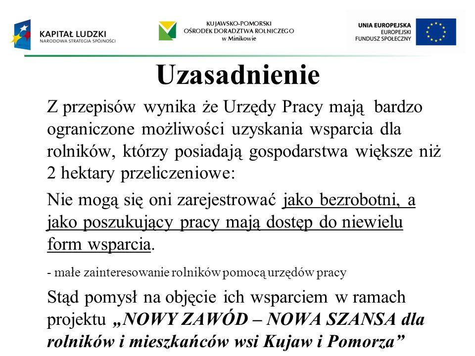 Realizowany przez Kujawsko-Pomorski Ośrodek Doradztwa Rolniczego projekt pn: NOWY ZAWÓD – NOWA SZANSA dla rolników i mieszkańców wsi Kujaw i Pomorza jest współfinansowany przez Unię Europejską w ramach Europejskiego Funduszu Społecznego z poddziałania 8.1.2 Programu Operacyjnego Kapitał Ludzki.