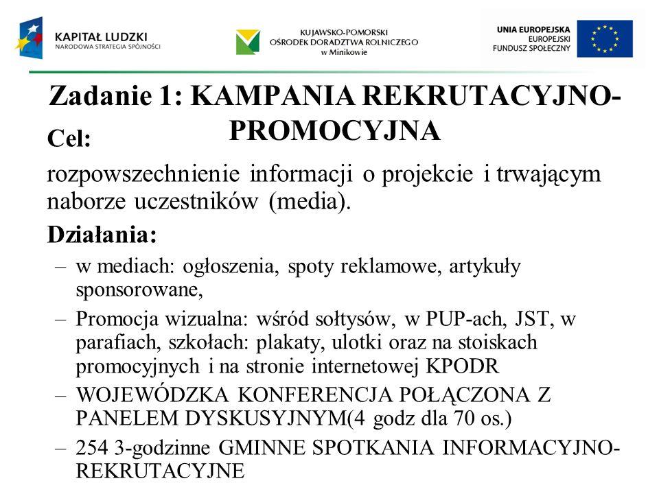 Zadanie 1: KAMPANIA REKRUTACYJNO- PROMOCYJNA Cel: rozpowszechnienie informacji o projekcie i trwającym naborze uczestników (media). Działania: –w medi