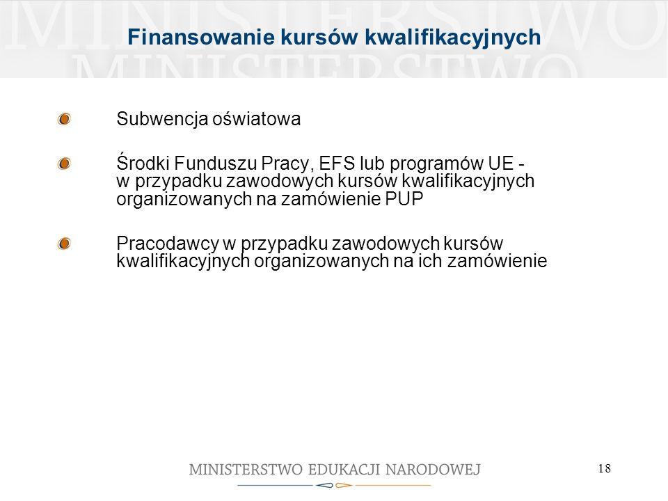 18 Finansowanie kursów kwalifikacyjnych Subwencja oświatowa Środki Funduszu Pracy, EFS lub programów UE - w przypadku zawodowych kursów kwalifikacyjny