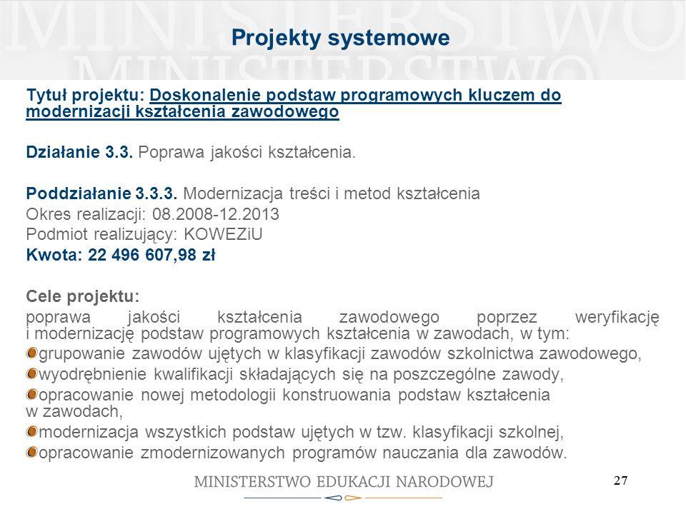 27 Tytuł projektu: Doskonalenie podstaw programowych kluczem do modernizacji kształcenia zawodowego Działanie 3.3. Poprawa jakości kształcenia. Poddzi