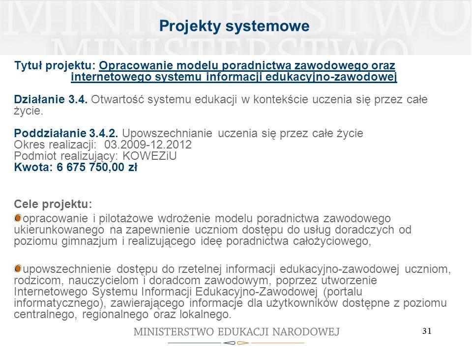 31 Tytuł projektu: Opracowanie modelu poradnictwa zawodowego oraz internetowego systemu informacji edukacyjno-zawodowej Działanie 3.4. Otwartość syste