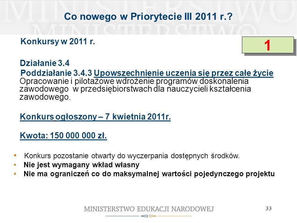 33 Co nowego w Priorytecie III 2011 r.? Konkursy w 2011 r. Działanie 3.4 Poddziałanie 3.4.3 Upowszechnienie uczenia się przez całe życie Opracowanie i