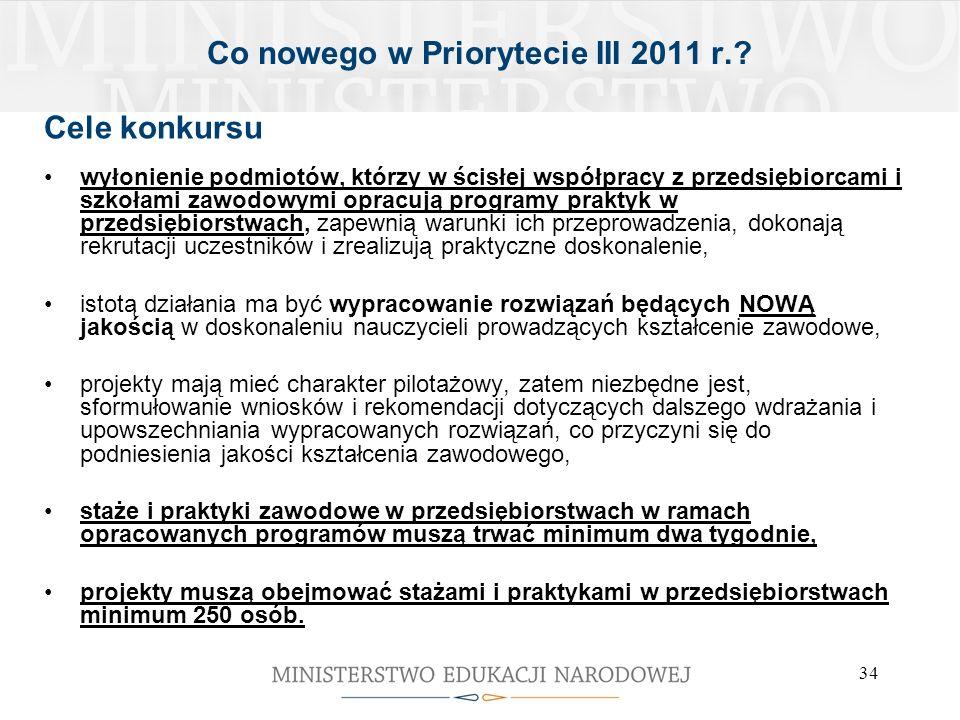 34 Co nowego w Priorytecie III 2011 r.? Cele konkursu wyłonienie podmiotów, którzy w ścisłej współpracy z przedsiębiorcami i szkołami zawodowymi oprac