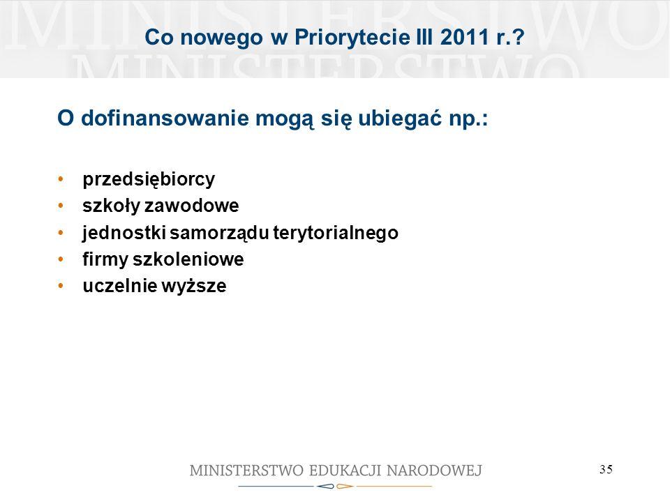 35 Co nowego w Priorytecie III 2011 r.? O dofinansowanie mogą się ubiegać np.: przedsiębiorcy szkoły zawodowe jednostki samorządu terytorialnego firmy