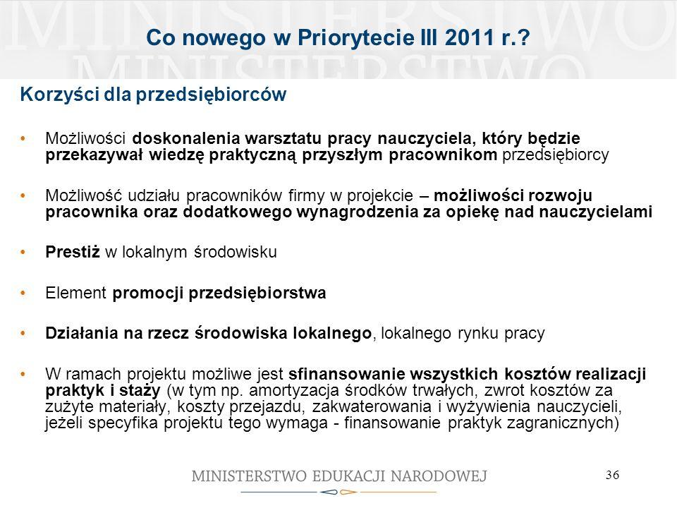 36 Co nowego w Priorytecie III 2011 r.? Korzyści dla przedsiębiorców Możliwości doskonalenia warsztatu pracy nauczyciela, który będzie przekazywał wie