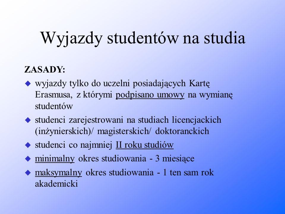 Wyjazdy studentów na studia ZASADY: u wyjazdy tylko do uczelni posiadających Kartę Erasmusa, z którymi podpisano umowy na wymianę studentów u studenci