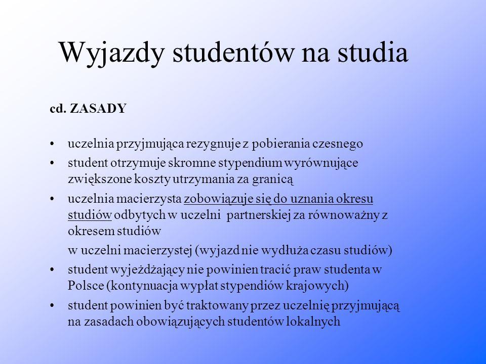 Wyjazdy studentów na studia cd. ZASADY uczelnia przyjmująca rezygnuje z pobierania czesnego student otrzymuje skromne stypendium wyrównujące zwiększon