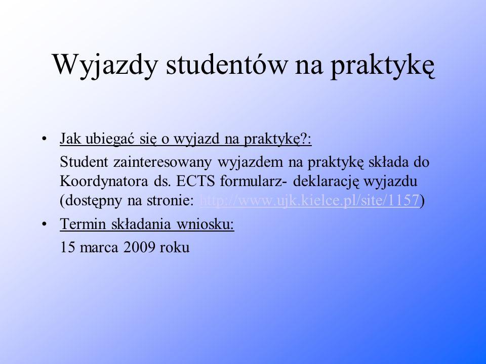 Wyjazdy studentów na praktykę Jak ubiegać się o wyjazd na praktykę?: Student zainteresowany wyjazdem na praktykę składa do Koordynatora ds. ECTS formu