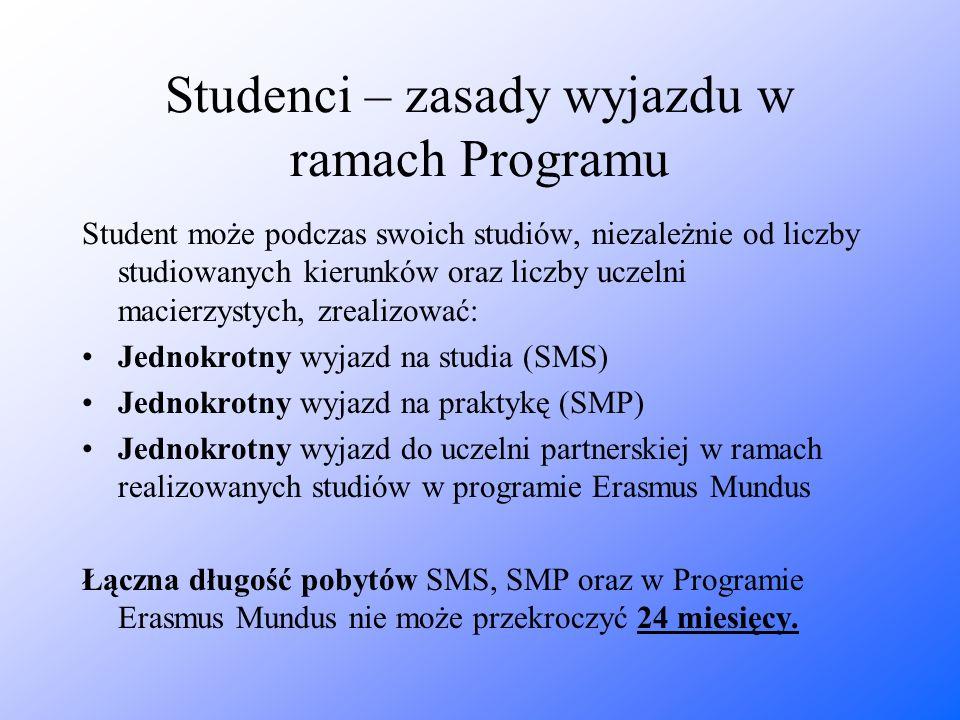 Studenci – zasady wyjazdu w ramach Programu Student może podczas swoich studiów, niezależnie od liczby studiowanych kierunków oraz liczby uczelni maci