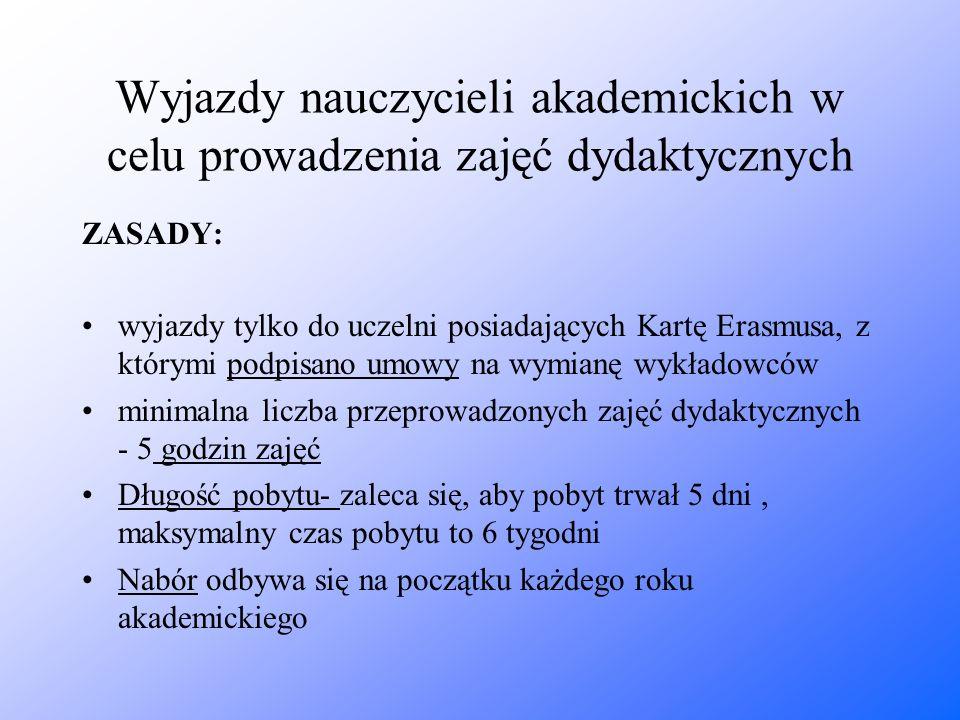 Wyjazdy nauczycieli akademickich w celu prowadzenia zajęć dydaktycznych ZASADY: wyjazdy tylko do uczelni posiadających Kartę Erasmusa, z którymi podpi