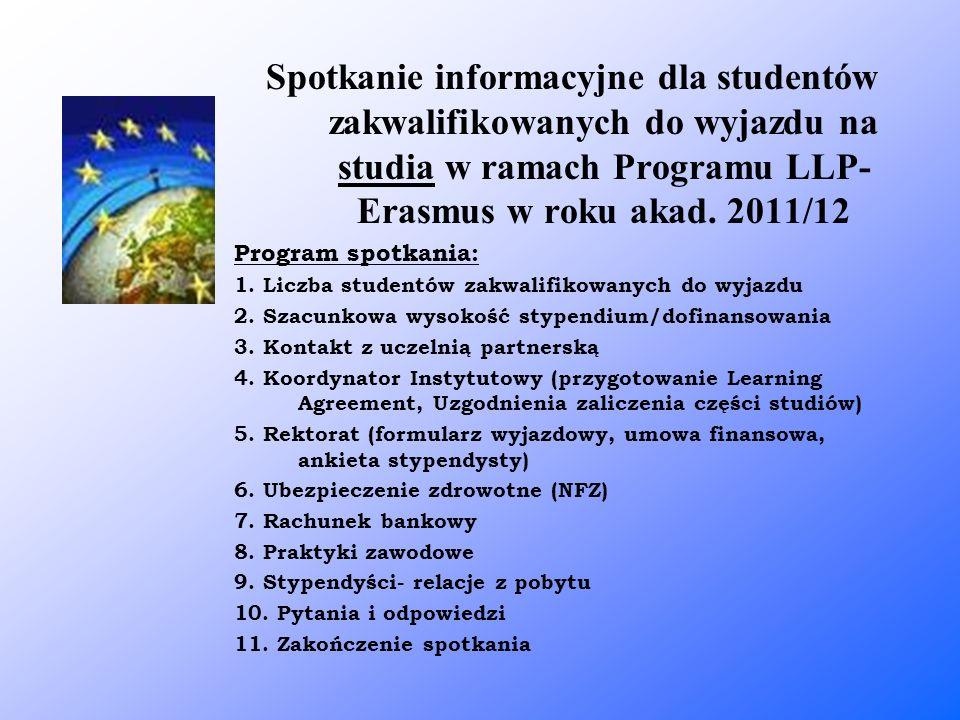 Spotkanie informacyjne dla studentów zakwalifikowanych do wyjazdu na studia w ramach Programu LLP- Erasmus w roku akad. 2011/12 Program spotkania: 1.