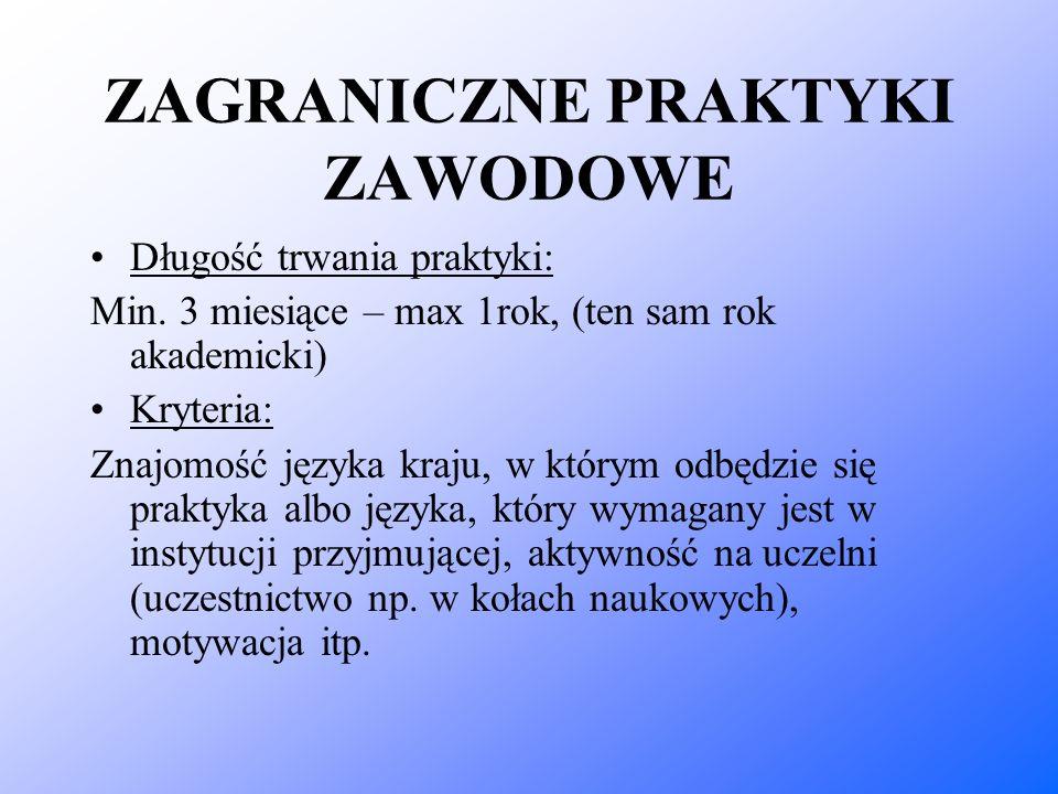 ZAGRANICZNE PRAKTYKI ZAWODOWE Długość trwania praktyki: Min. 3 miesiące – max 1rok, (ten sam rok akademicki) Kryteria: Znajomość języka kraju, w który