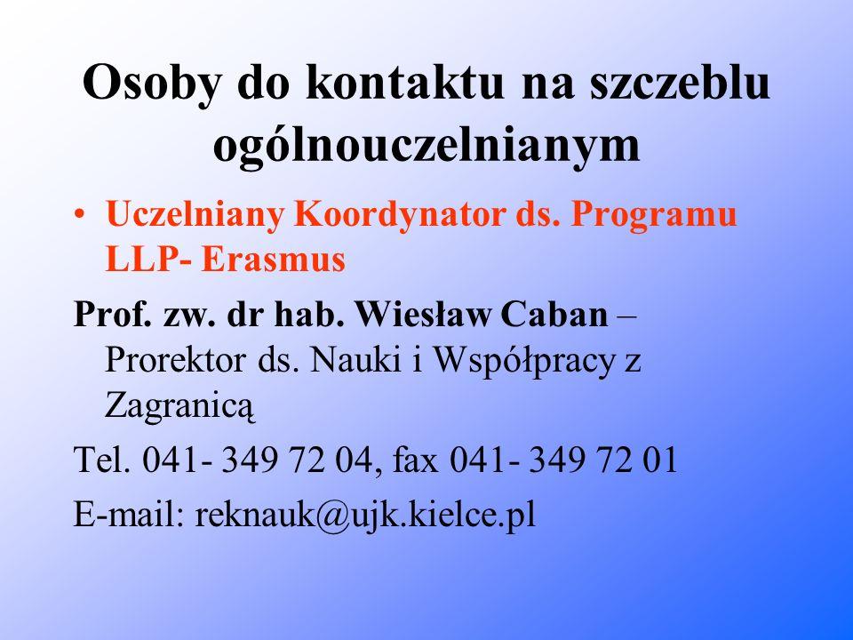 Osoby do kontaktu na szczeblu ogólnouczelnianym Uczelniany Koordynator ds. Programu LLP- Erasmus Prof. zw. dr hab. Wiesław Caban – Prorektor ds. Nauki