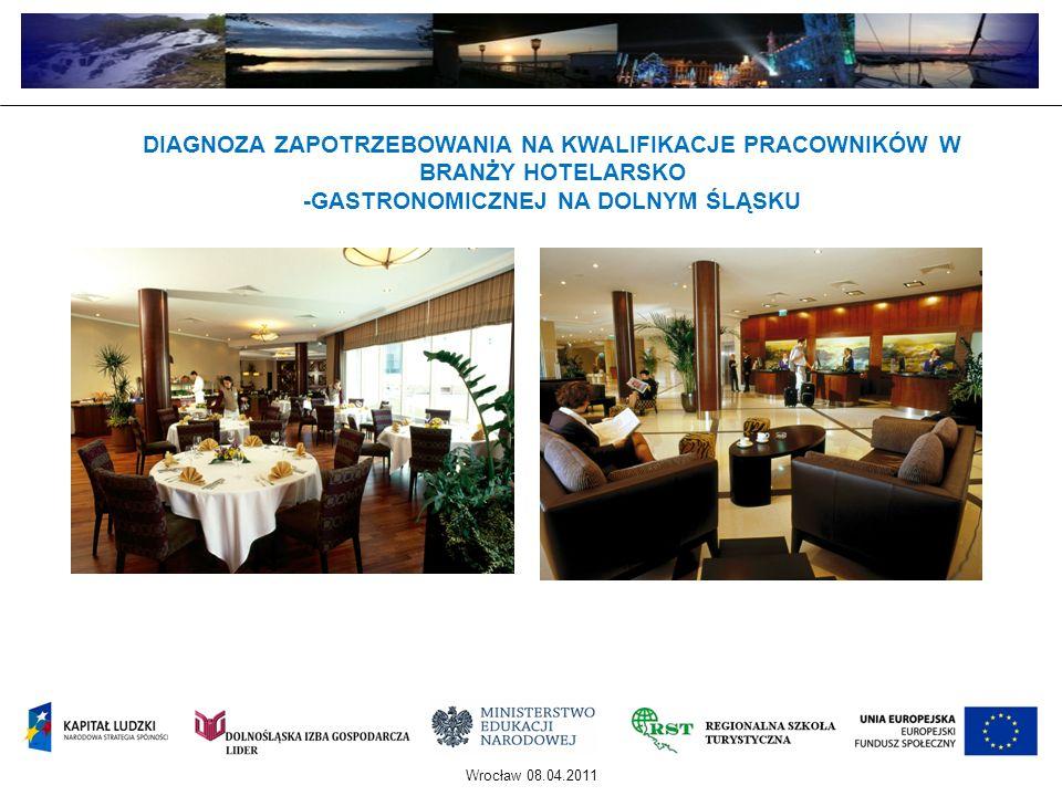 DIAGNOZA POTRZEB EDUKACYJNYCH W OBSZARZE SZKOLNICTWA ZAWODOWEGO W ZAKRESIE HOTELARSTWA I GASTRONOMII NA DOLNYM ŚLĄSKU Projekt zrealizowany ze środków Europejskiego Funduszu Społecznego oraz krajowego wkładu publicznego w ramach Programu Operacyjnego Kapitał Ludzki 2007-2013 Priorytet IX - Rozwój wykształcenia i kompetencji w regionach, Działanie 9.2 - Podniesienie atrakcyjności i jakości szkolnictwa zawodowego KWIECIEŃ 2009 – MAJ 2010 CEL PROJEKTU: zdiagnozowanie potrzeb edukacyjnych w oparciu o potrzeby regionalnego rynku pracy w branży: hotelarstwo i gastronomia.