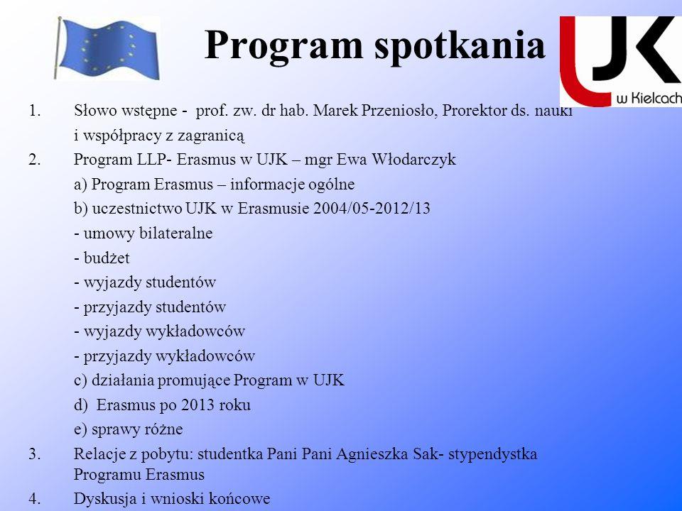 Program spotkania 1.Słowo wstępne - prof. zw. dr hab. Marek Przeniosło, Prorektor ds. nauki i współpracy z zagranicą 2.Program LLP- Erasmus w UJK – mg