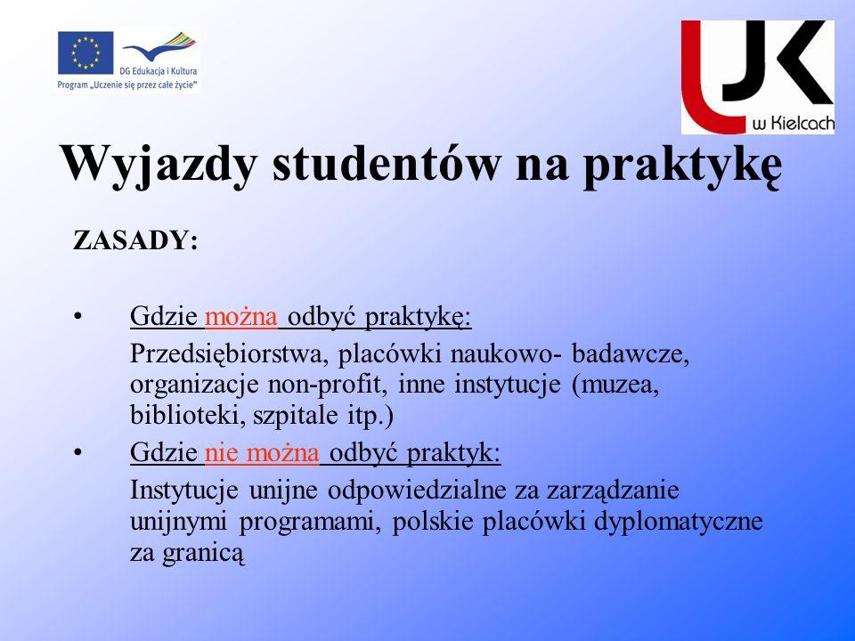 Wyjazdy studentów na praktykę ZASADY: Gdzie można odbyć praktykę: Przedsiębiorstwa, placówki naukowo- badawcze, organizacje non-profit, inne instytucj