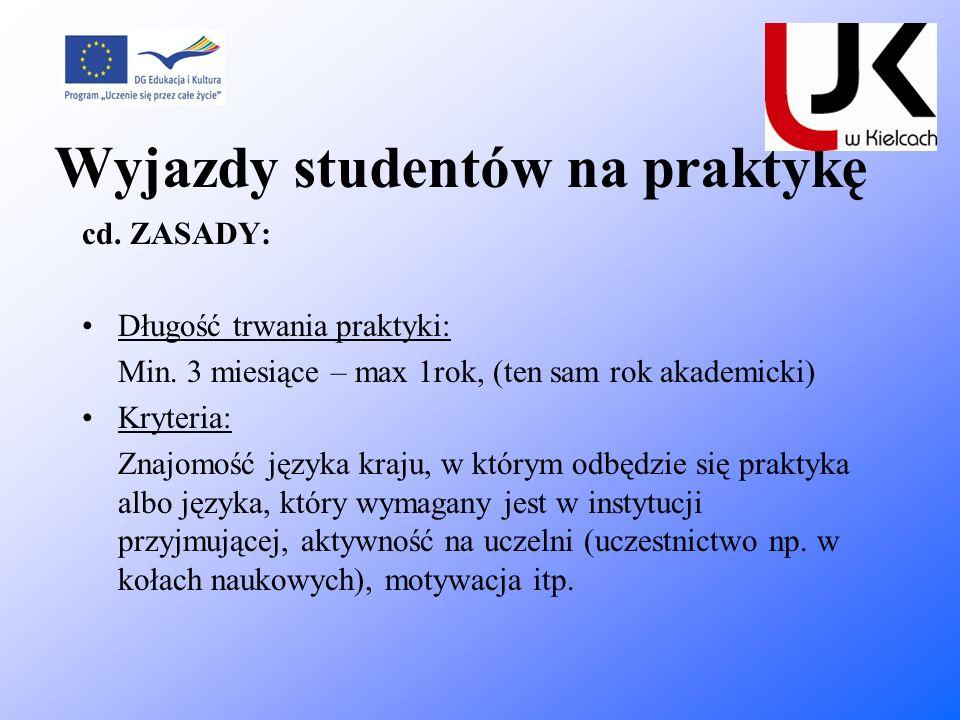 Wyjazdy studentów na praktykę cd. ZASADY: Długość trwania praktyki: Min. 3 miesiące – max 1rok, (ten sam rok akademicki) Kryteria: Znajomość języka kr