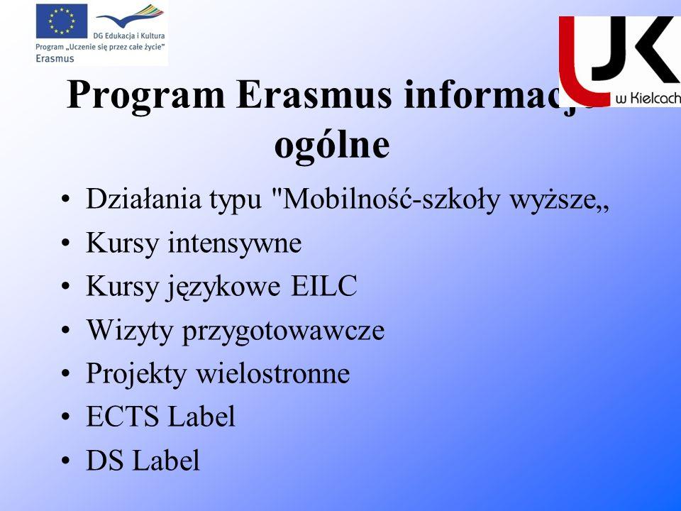 Program Erasmus informacje ogólne Działania typu