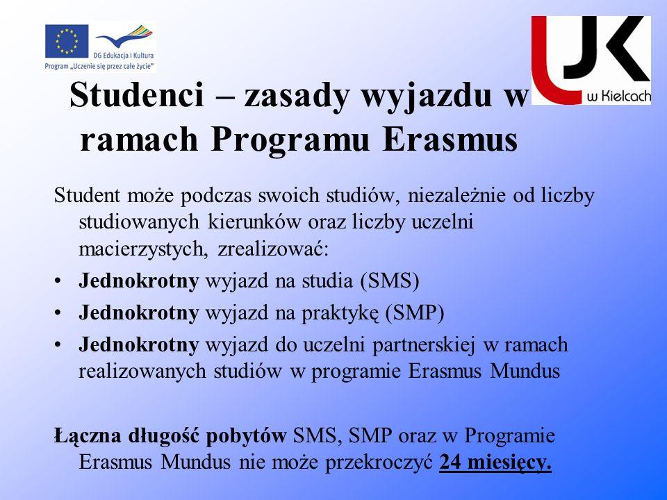 Studenci – zasady wyjazdu w ramach Programu Erasmus Student może podczas swoich studiów, niezależnie od liczby studiowanych kierunków oraz liczby ucze