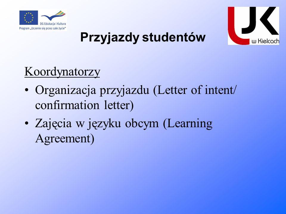 Przyjazdy studentów Koordynatorzy Organizacja przyjazdu (Letter of intent/ confirmation letter) Zajęcia w języku obcym (Learning Agreement)