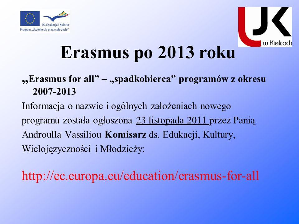 Erasmus po 2013 roku Erasmus for all – spadkobierca programów z okresu 2007-2013 Informacja o nazwie i ogólnych założeniach nowego programu została og