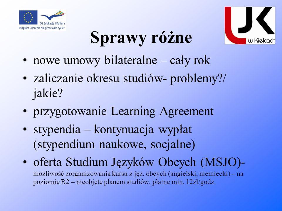 Sprawy różne nowe umowy bilateralne – cały rok zaliczanie okresu studiów- problemy?/ jakie? przygotowanie Learning Agreement stypendia – kontynuacja w