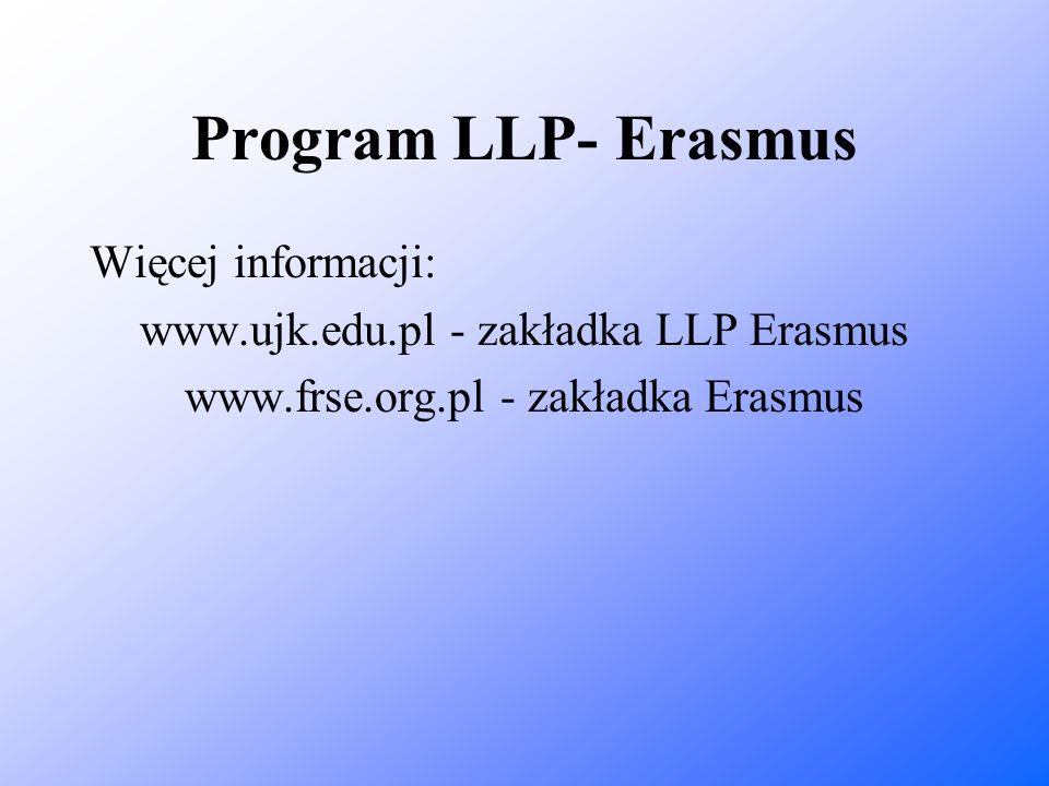 Program LLP- Erasmus Więcej informacji: www.ujk.edu.pl - zakładka LLP Erasmus www.frse.org.pl - zakładka Erasmus