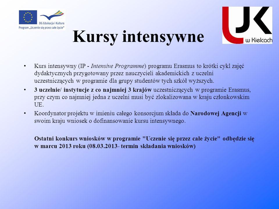 Kursy intensywne Kurs intensywny (IP - Intensive Programme) programu Erasmus to krótki cykl zajęć dydaktycznych przygotowany przez nauczycieli akademi