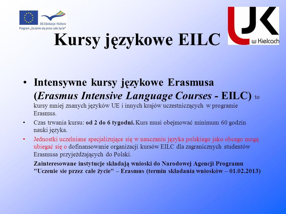 Kursy językowe EILC Intensywne kursy językowe Erasmusa (Erasmus Intensive Language Courses - EILC) to kursy mniej znanych języków UE i innych krajów u