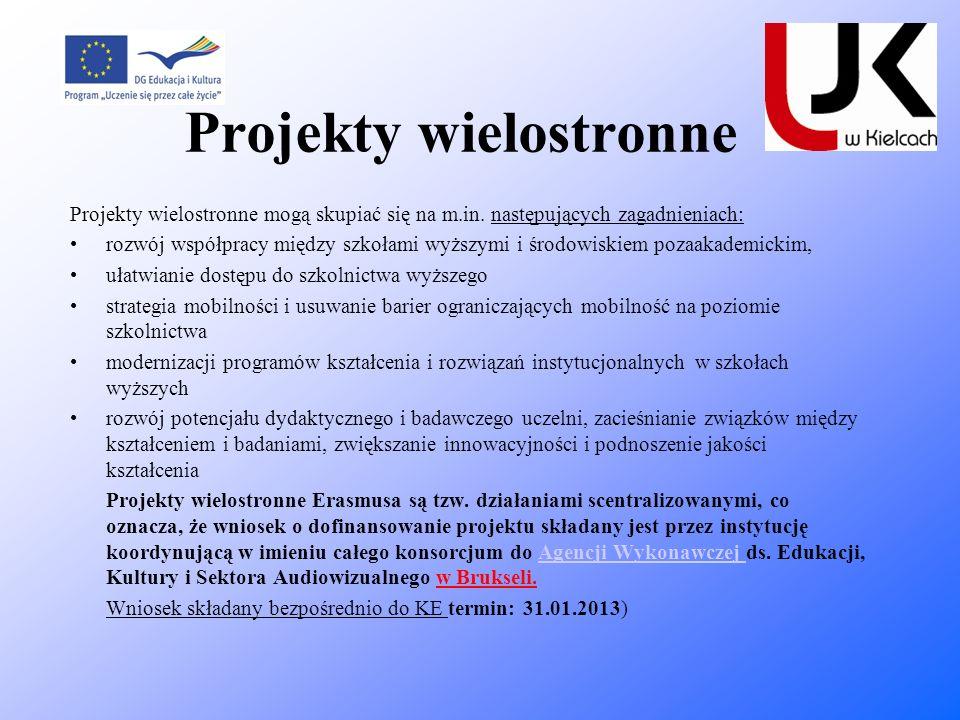 Projekty wielostronne Projekty wielostronne mogą skupiać się na m.in. następujących zagadnieniach: rozwój współpracy między szkołami wyższymi i środow