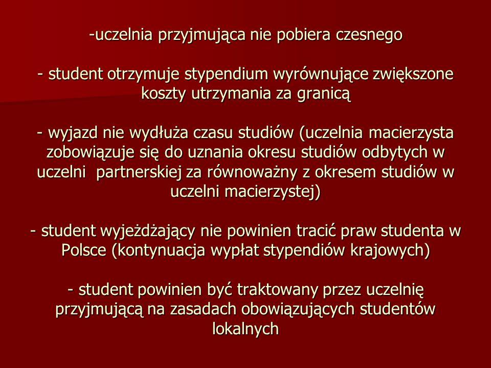 -uczelnia przyjmująca nie pobiera czesnego - student otrzymuje stypendium wyrównujące zwiększone koszty utrzymania za granicą - wyjazd nie wydłuża cza