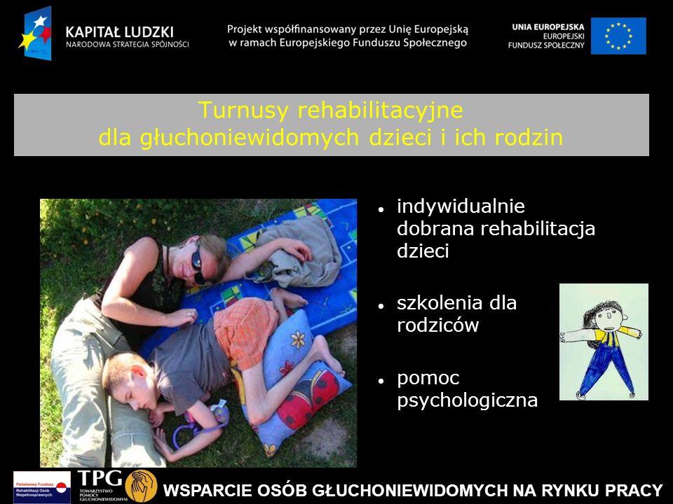 WSPARCIE OSÓB GŁUCHONIEWIDOMYCH NA RYNKU PRACY Turnusy rehabilitacyjne dla głuchoniewidomych dzieci i ich rodzin indywidualnie dobrana rehabilitacja d