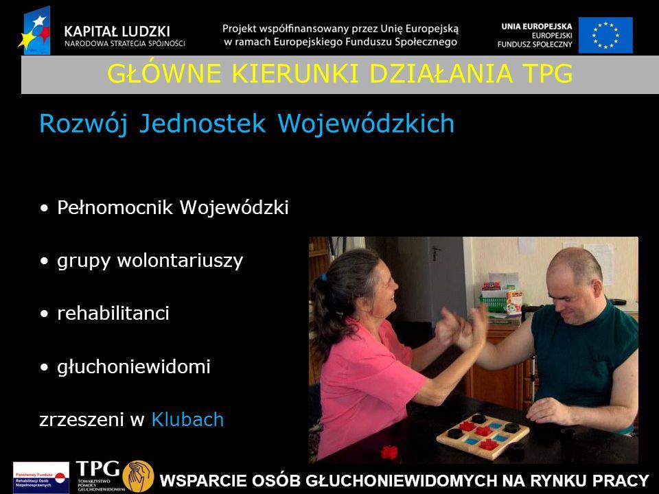 WSPARCIE OSÓB GŁUCHONIEWIDOMYCH NA RYNKU PRACY GŁÓWNE KIERUNKI DZIAŁANIA TPG Pełnomocnik Wojewódzki grupy wolontariuszy rehabilitanci głuchoniewidomi