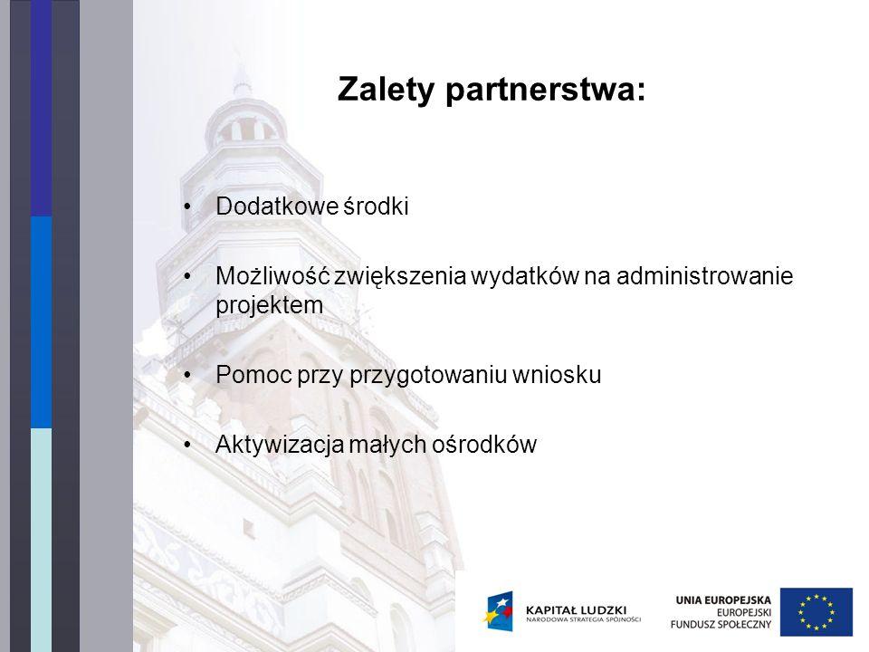 Zalety partnerstwa: Dodatkowe środki Możliwość zwiększenia wydatków na administrowanie projektem Pomoc przy przygotowaniu wniosku Aktywizacja małych ośrodków