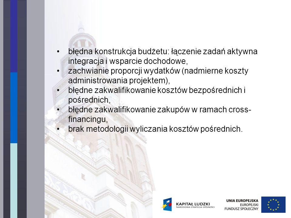błędna konstrukcja budżetu: łączenie zadań aktywna integracja i wsparcie dochodowe, zachwianie proporcji wydatków (nadmierne koszty administrowania pr